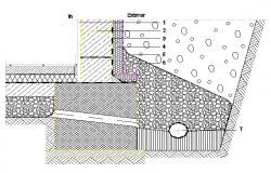 Detail of foundation of floor and wall construction dwg file