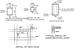 Detail of man hole, construction joint detail, girder beam plan in circular and section detail dwg file