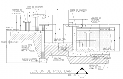 Detail of pool bar detail elevation 2d view layout file