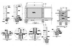 Detail of steel railing structural CAD block layout file in autocad format