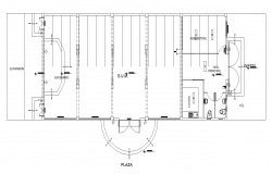 Detail office building structure electrical installation 2d view layout autocad file