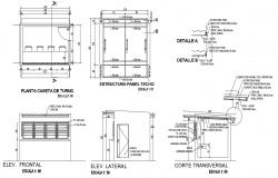 Detail plan elevation and sectional of room dwg file