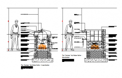 Detail section drawing of Donkey Hot Water Boiler design