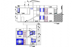 Detail section single family house 2 levels plan detail dwg file