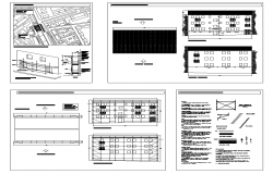 Detail structural building elevation and plan 2d view layout dwg file