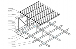 Detail suspended ceiling system with plate isometric view dwg file
