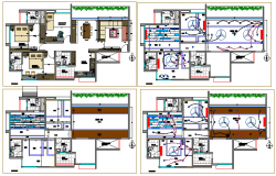 Detailed architecture project of one family house dwg file