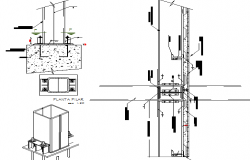 Detailed constructive view of three level steel frame dwg file