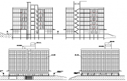 Detailed elevation and sectional view of multi-flooring office building dwg file