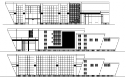 Detailed elevation view of multi-flooring city bank agency dwg file