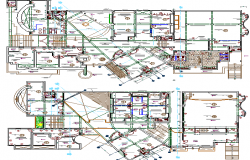 Detailed floor plan layout of municipal government building dwg file