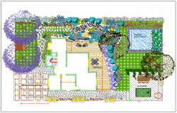 Detailed landscaping view of private home garden dwg file