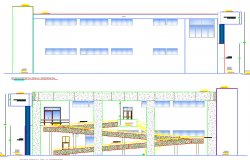 Detailed sectional view of multi-flooring virtual library dwg file