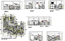 Detailed six bathrooms architecture project details dwg file