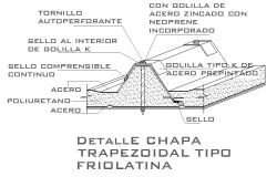Detailed trapezoidal type fryolatine constructive details dwg file