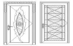 Detailed view of traditional type door designing blocks dwg file