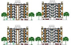 Detailing elevation view of residential housing apartment dwg file