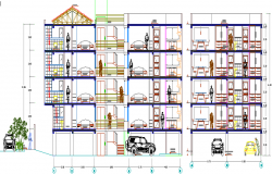 Detailing section view of residential housing apartment building dwg file