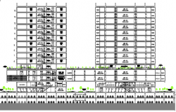 Detailing sectional view of finance center dwg file