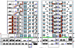 Detailing sectional view of multi-family residential building dwg file