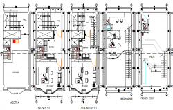 Detailing view of floor plan layout of office building dwg file