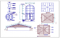 Details of carpentry and pergolas of garden architecture details dwg file