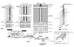 Details of concrete masonry and brick masonry structure in dwg file
