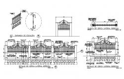 Details of gate and lateral right fence structure dwg file