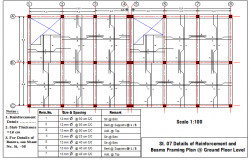 Details of slab reinforcement and beam framing plan dwg file