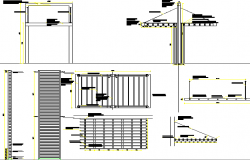 Details of sun and shade coverage mall plaza dwg file
