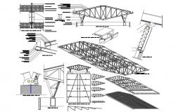 Details of truss-wooden structure for roof dwg file