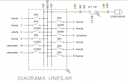 Diagram unifilar chart view of house dwg file