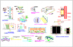 Different architectural related detail of collage dwg file