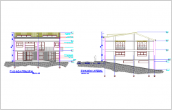 Different axis elevation  view for house with commercial building dwg file