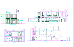 Different axis elevation and section view for banking agency building dwg file
