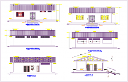 Different axis elevation and section view for health center building dwg file