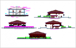 Different axis elevation and section view for house building dwg file