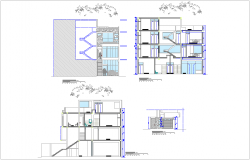 Different axis elevation and section view for housing building dwg file