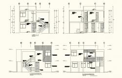Different axis elevation and section view for living place building dwg file