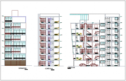 Different axis elevation and section view for multi family building dwg file