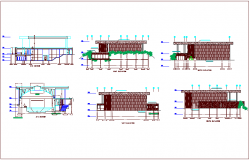 Different axis elevation and section view for multipurpose building dwg file
