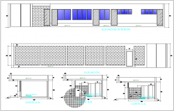 Different axis elevation and section view for recycle industrial building dwg file