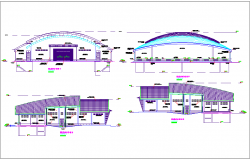 Different axis elevation view for auditorium building dwg file
