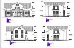 Different axis elevation view for duplex house  building dwg file