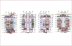 Different axis elevation view for mixed use high rise building dwg file