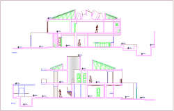 Different axis elevation view for residential building dwg file