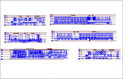 Different axis elevation view of lunge hospital dwg file