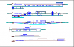 Different axis section view and elevation of center of communal participation dwg file