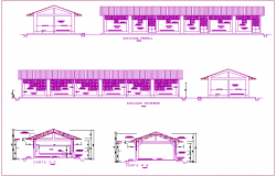 Different axis section view and elevation of classroom dwg file