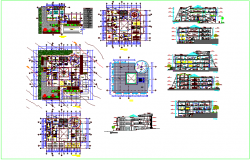 Different axis section view and floor plan and elevation view of government library with door and window detail dwg file